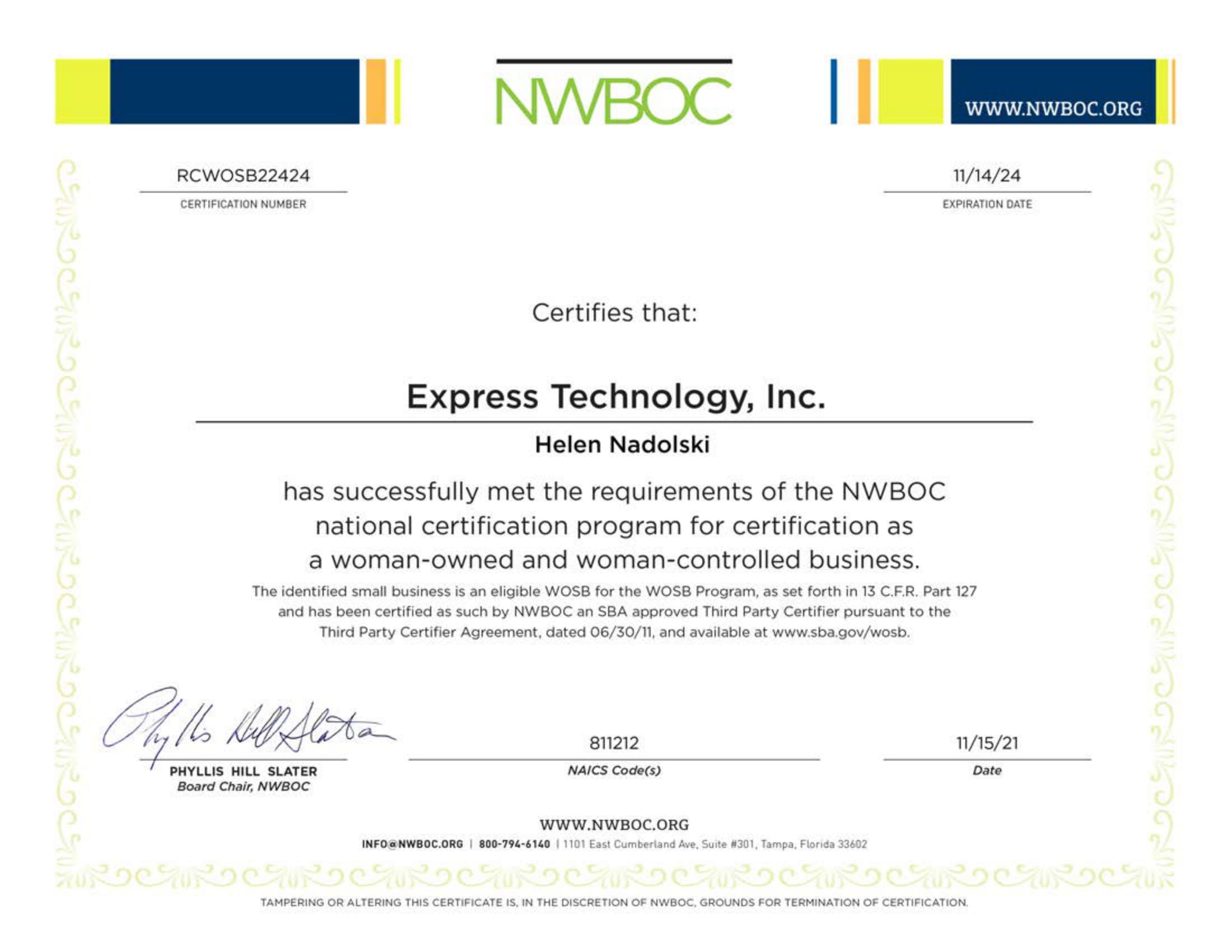 Express Technology Incorporated NWBOC Accreditation