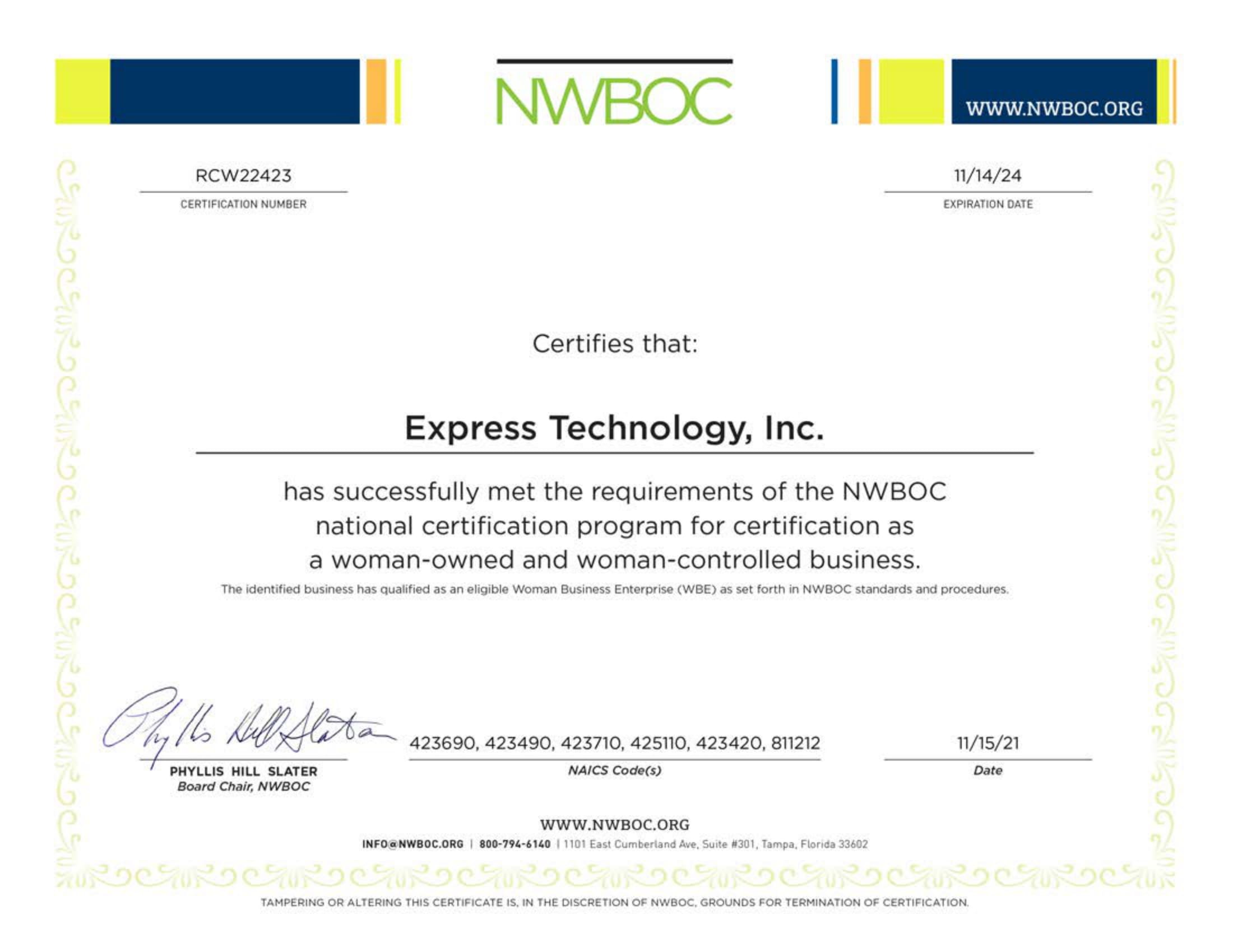 Express Technology Incorporated NWBOC